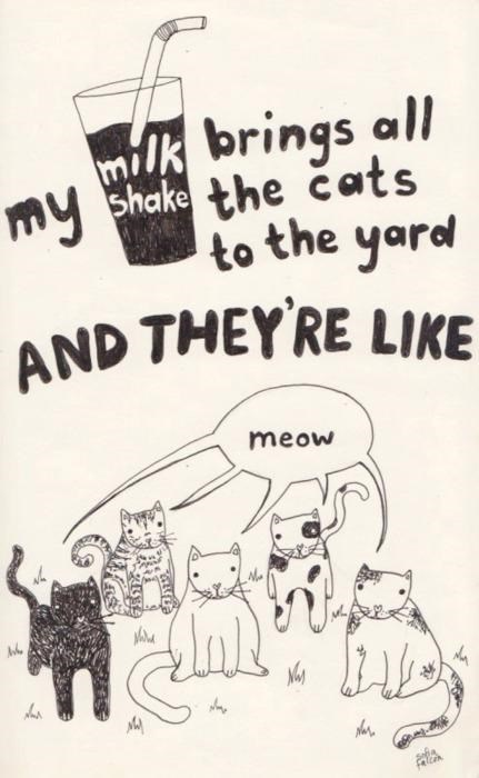 classic song cat - Cartoon - milk brings all my bhake the cats to the yard AND THEY RE LIKE meow