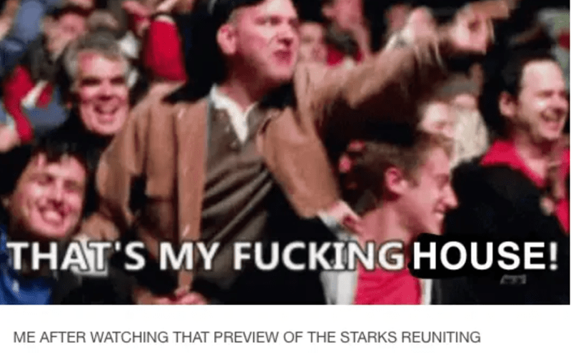 People - THAT'S MY FUCKING HOUSE! ME AFTER WATCHING THAT PREVIEW OF THE STARKS REUNITING