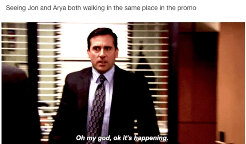 Suit - Seeing Jon and Arya both walking in the same place in the promo Oh my god, ok it's happening.