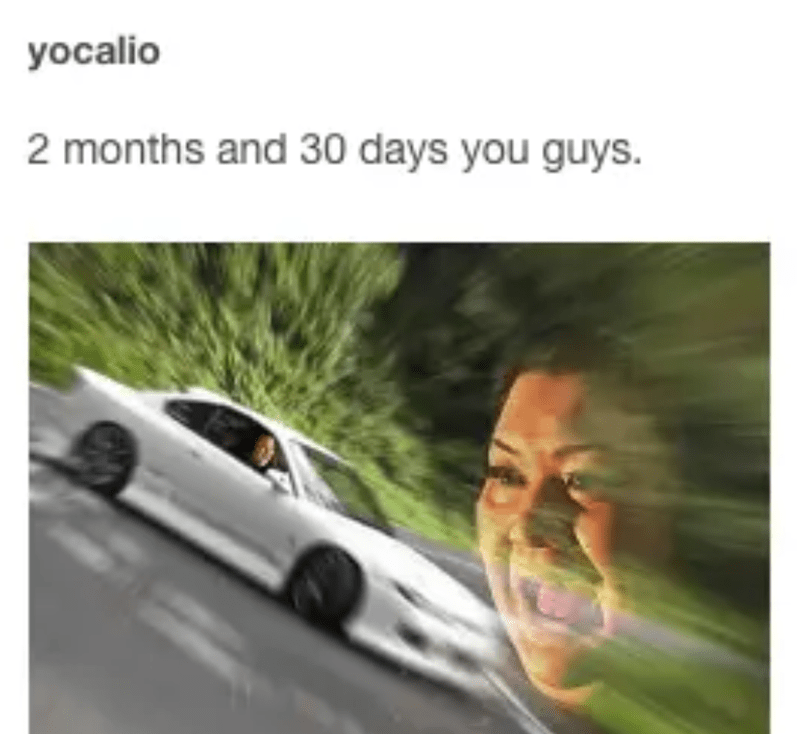 Vehicle - yocalio 2 months and 30 days you guys.