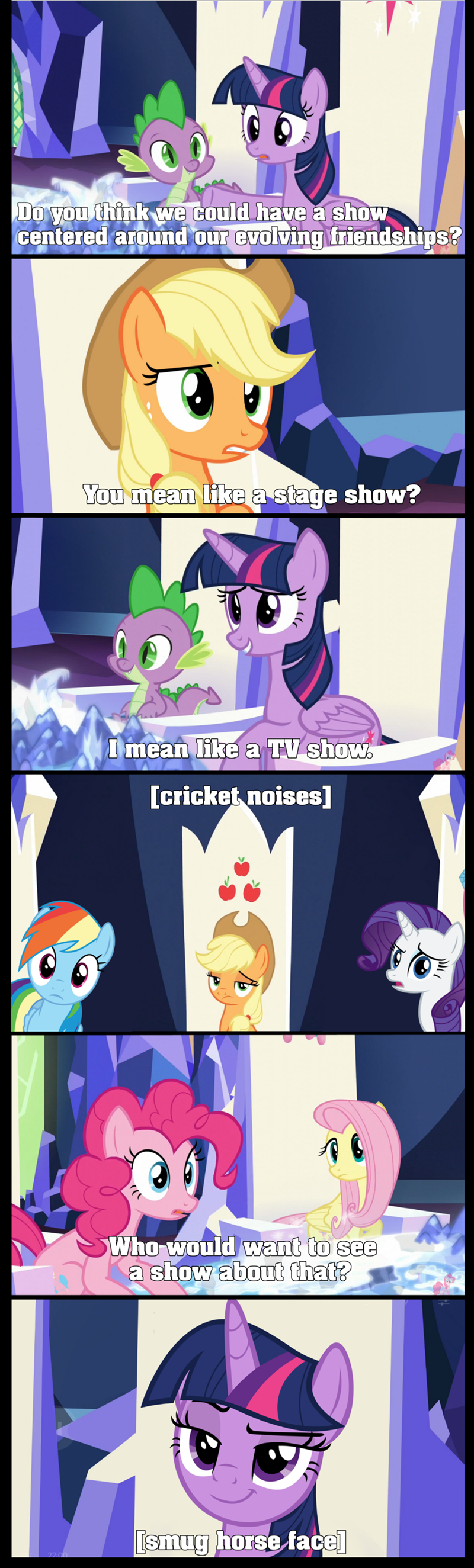spike applejack fourth wall twilight sparkle screencap pinkie pie rarity comic fluttershy rainbow dash - 9259117824