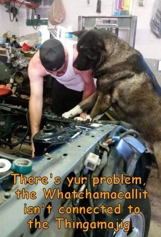Dog - There's yur problem, the Whatchamacallit isn t connected to the Thingamajig
