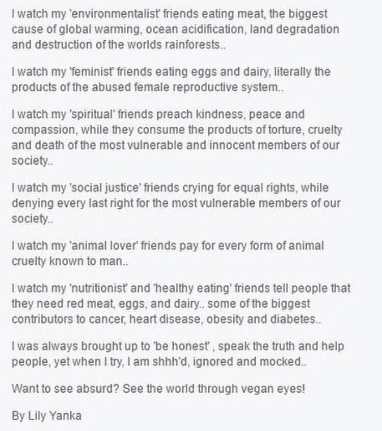 cringey post by vegan
