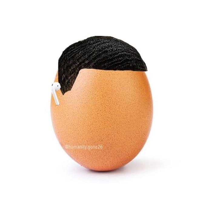 waves hairstyle and AirPods photoshopped on an egg