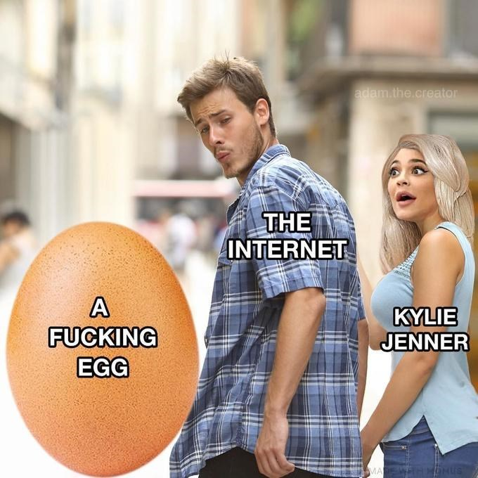 distracted boyfriend meme about the internet preferring an egg over Kylie Jenner