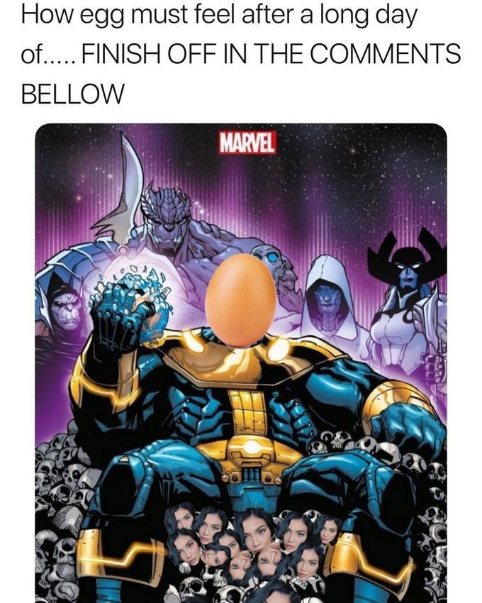 world record egg as Thanos sitting on a throne made of Kylie Jenner's skulls