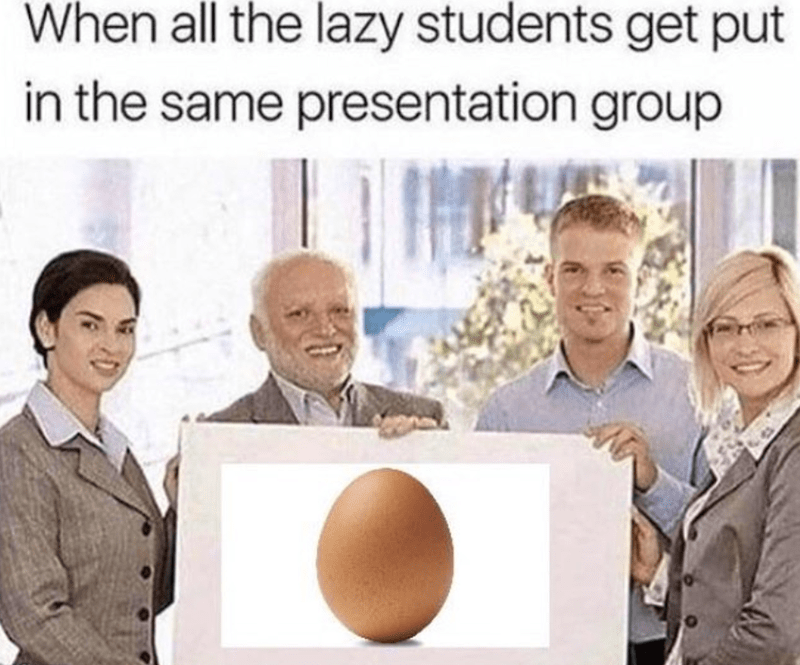 meme about the world record setting egg being the work of lazy people