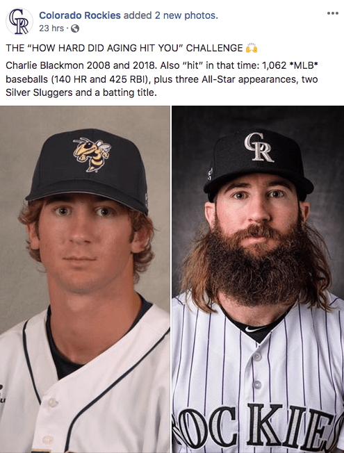 Then and now pics of baseball player Charlie Blackmon