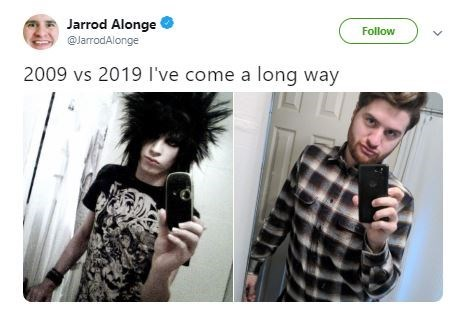 Then and now pics of an emo kid who conformed