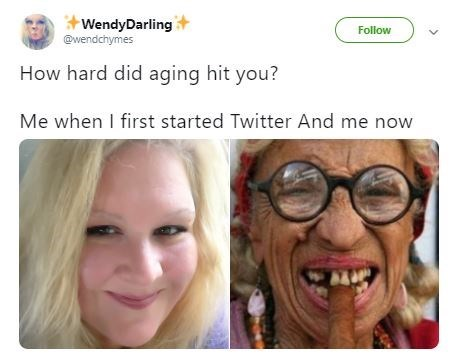 then and now pics of a young blonde woman becoming an old wrinkly woman with bad teeth
