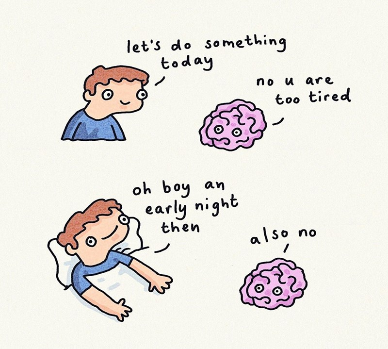 comic about being too tired to do anything but still not being able to sleep