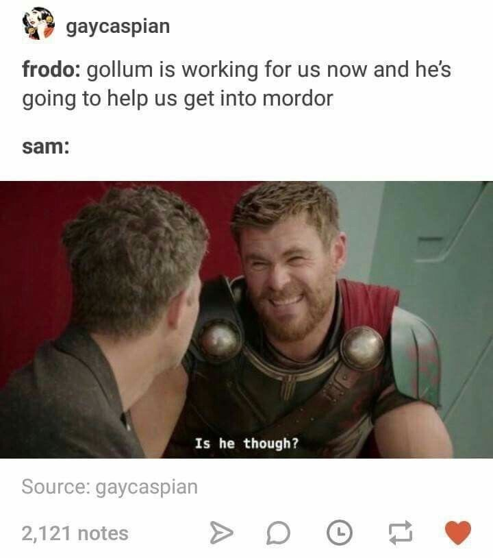 """meme about Sam never trusting Gollum in LotR with pic of Thor saying """"is it"""""""