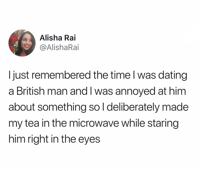 tweet about punishing Brits