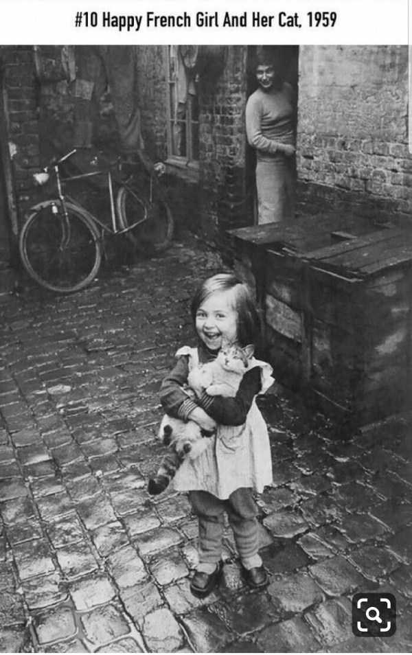Photograph - #10 Happy French Girl And Her Cat, 1959