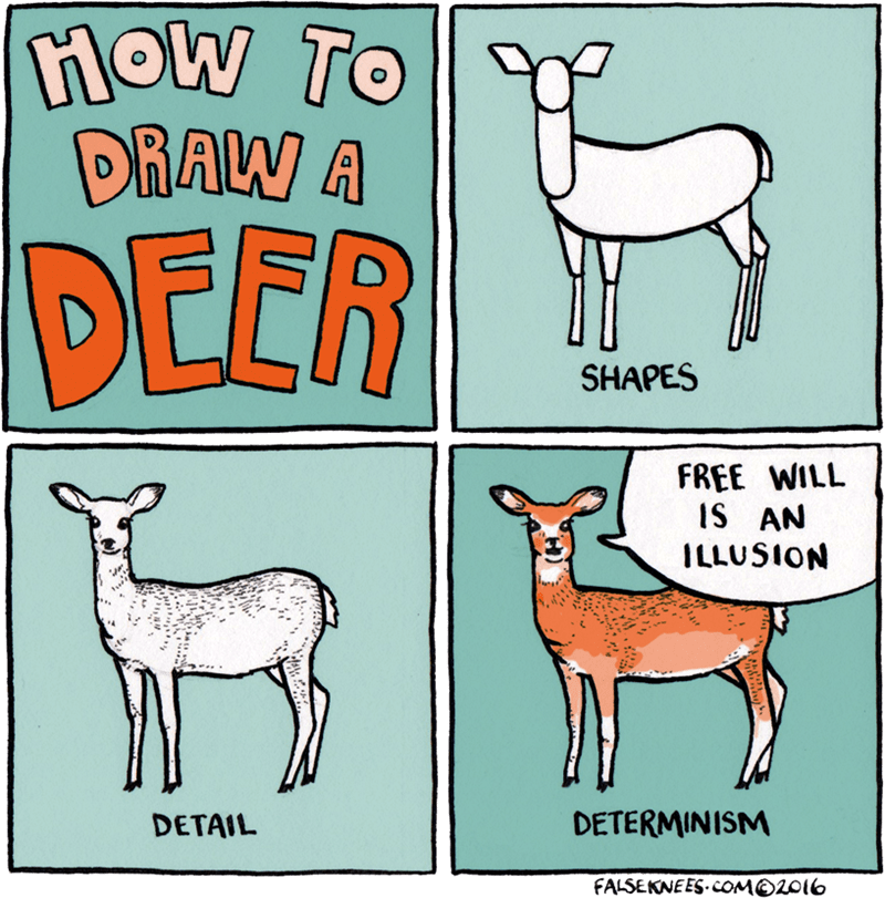 animal meme - Wildlife - row To HOW DRAW A DEER SHAPES FREE WILL iS AN 1LLUSאסו DETERMINISM DETAIL FALSEKNEES. cOMO2016