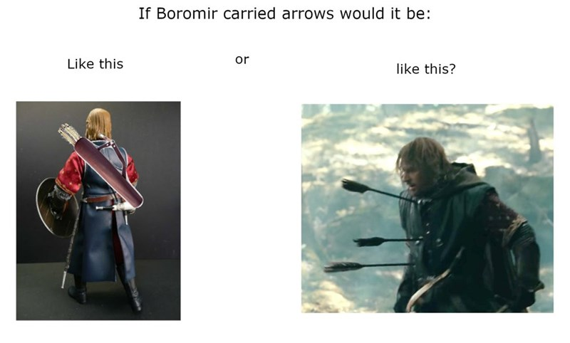 Outerwear - If Boromir carried arrows would it be: or Like this like this?