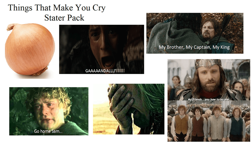 Human - Things That Make You Cry Stater Pack My Brother, My Captain, My King GAAAAANDALLLFIM My friends...you bow to no one. dIN Go home Sam...