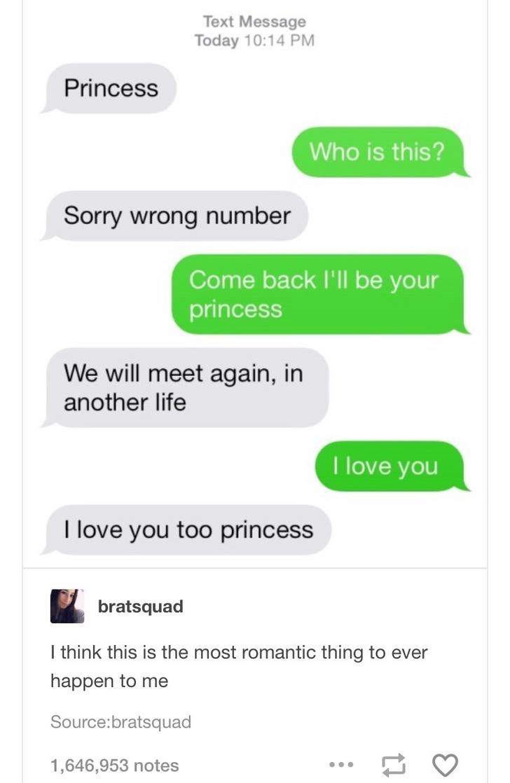 Text - Text Message Today 10:14 PM Princess Who is this? Sorry wrong number Come back I'll be your princess We will meet again, in another life I love you I love you too princess bratsquad I think this is the most romantic thing to ever happen to me Source:bratsquad 1,646,953 notes