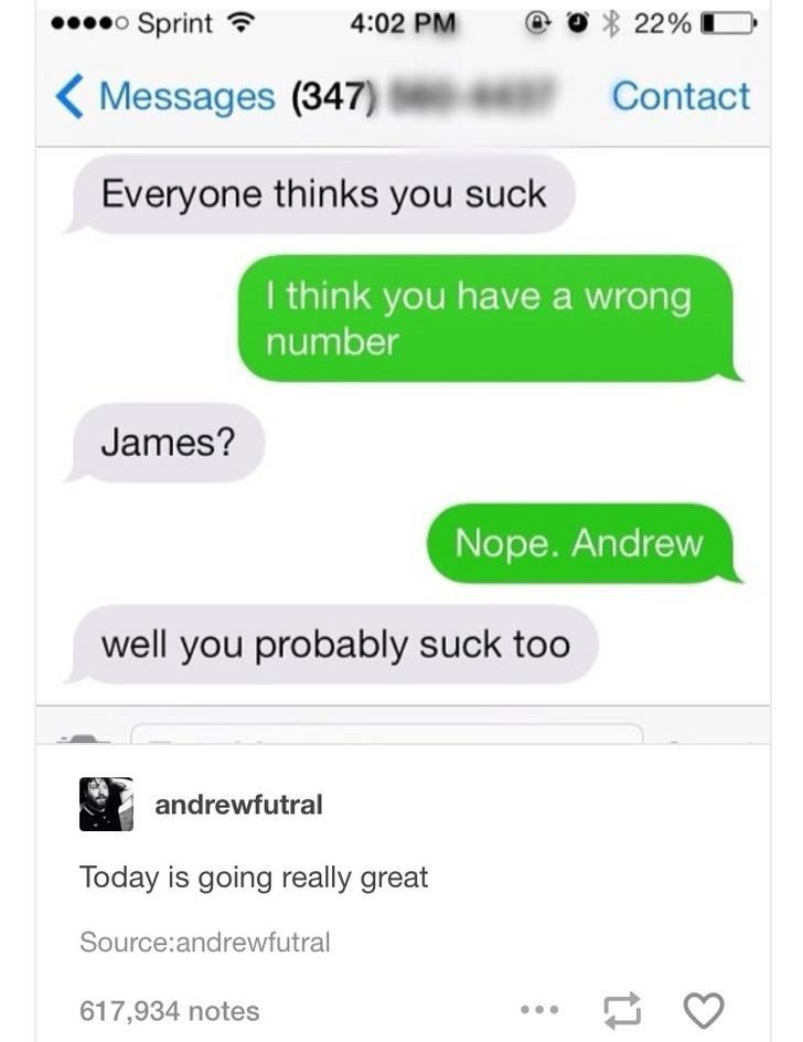 Text - Sprint 4:02 PM 22% Messages (347) Contact Everyone thinks you suck I think you havea wrong number James? Nope. Andrew well you probably suck too andrewfutral Today is going really great Source:andrewfutral 617,934 notes