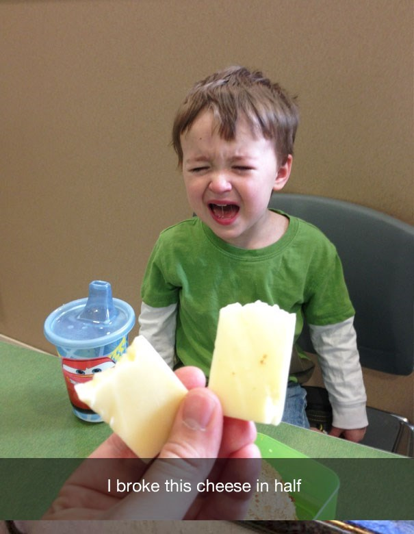 Child - I broke this cheese in half