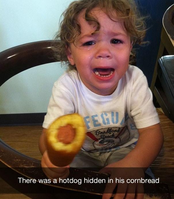 Child - FEGU Bradford Beach There was a hotdog hidden in his cornbread