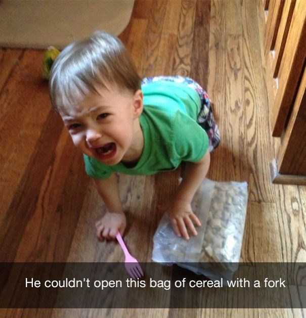 Child - He couldn't open this bag of cereal with a fork