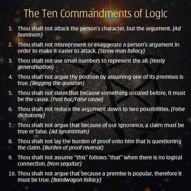 Text - The Ten Commandments of Logic Thou shalt not attack the person's character, but the argument. (Ad hominem) 1. Thou shalt not misrepresent or exaggerate a person's argument in order to make it easier to attack. (Straw man fallacy) 2. Thou shalt not use small numbers to represent the all. (Hasty generalisation) 3. Thou shalt not argue thy position by assuming one of its premises is true. (Begging the question) 4. Thou shalt not claim that because something occured before, it must be the cau