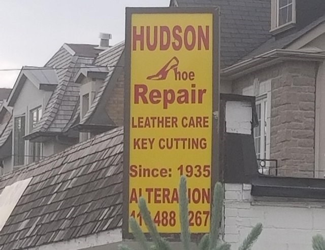 Text - HUDSON Repair LEATHER CARE KEY CUTTING Since: 1935 ALTERAION 41 488 267
