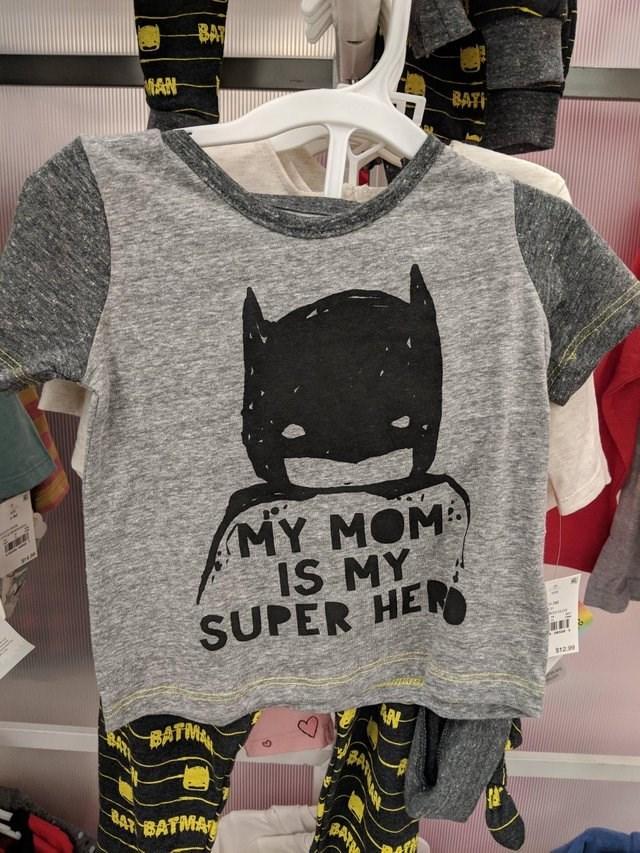 T-shirt - BAT MAN BATI MY MOM IS MY SUPER HE $12.99 BATM 4BATMAZ BATE