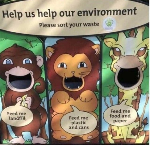 Cartoon - Help us help our environment Please sort your waste Feed me food and Feed me landfill Feed me paper plastic and cans