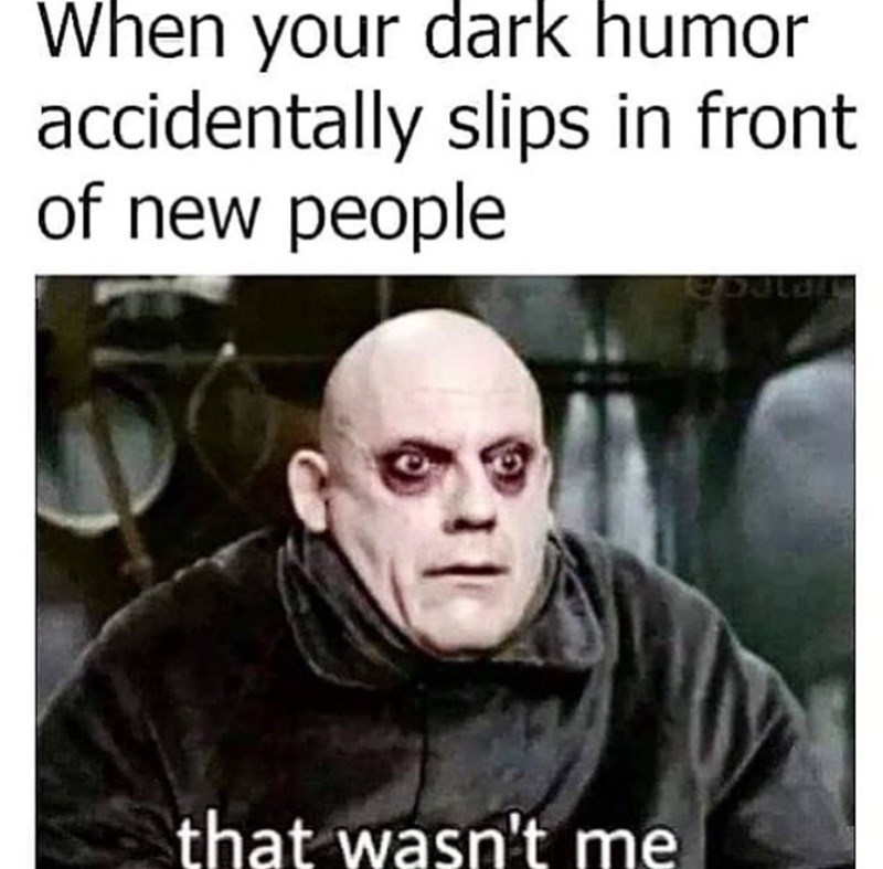 savage meme - Photo caption - When your dark humor accidentally slips in front of new people that wasn't me