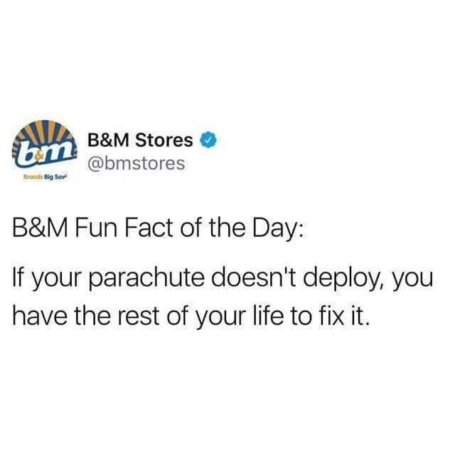 savage meme - Text - bm B&M Stores @bmstores Brands Big Sav B&M Fun Fact of the Day: If your parachute doesn't deploy, you have the rest of your life to fix it.