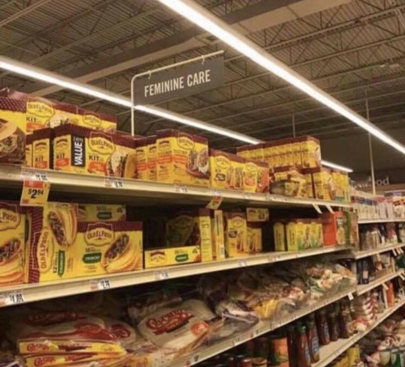meme - Supermarket - FEMININE CARE KIT KIT $2 94 Paso OLDELP VALUE