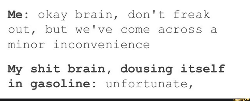 meme - Text - Me okay brain, don't freak out, but we've come across a minor inconvenience My shit brain, dousing itself in gasoline: unfortunate, if unny.co