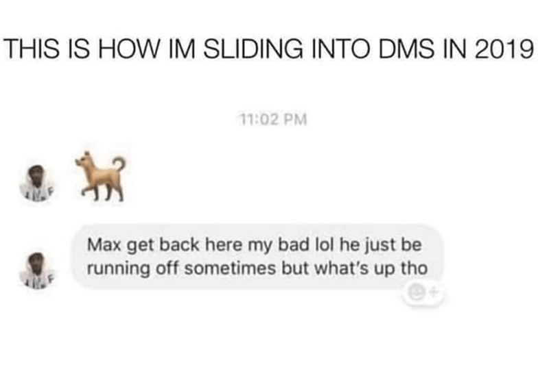 Text - THIS IS HOW IM SLIDING INTO DMS IN 2019 11:02 PM Max get back here my bad lol he just be running off sometimes but what's up tho