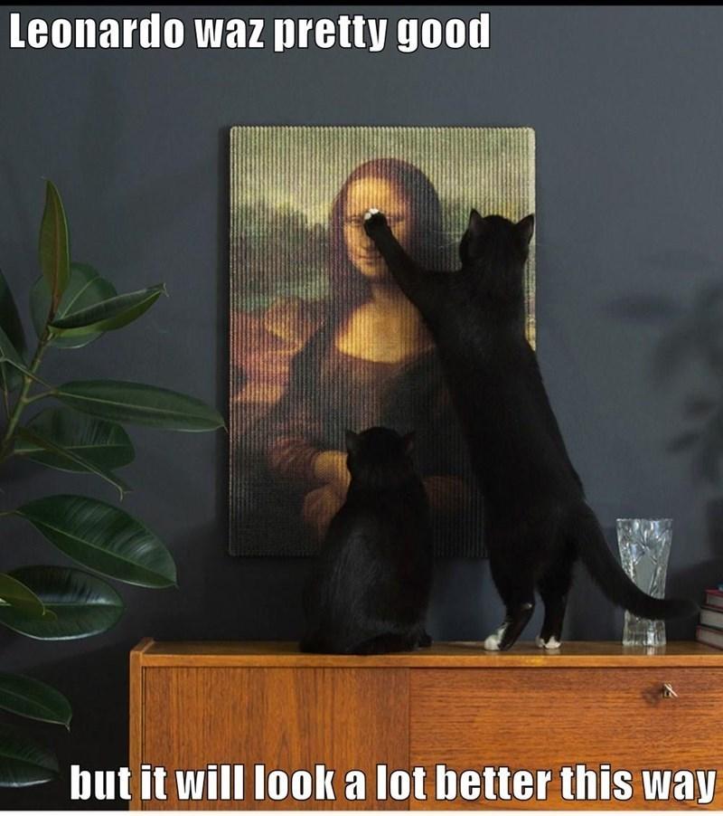 cute cat meme scratching a photo of Mona Lisa