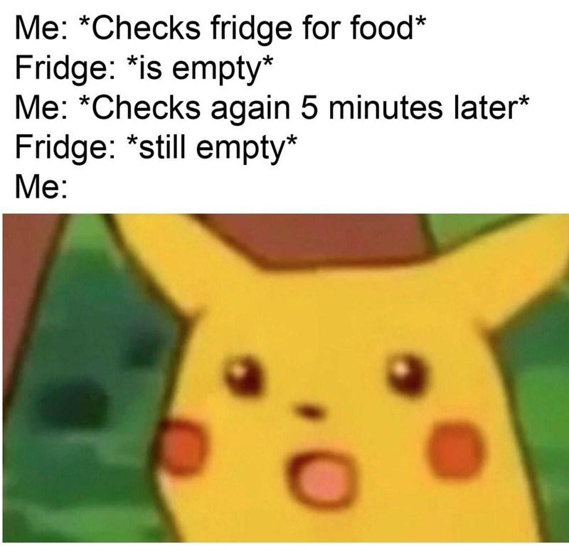meme - Text - Me: *Checks fridge for food* Fridge: *is empty* Me: *Checks again 5 minutes later* Fridge: *still empty* Me: