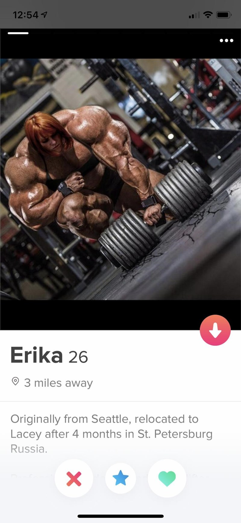 Bodybuilding - 12:54 Erika 26 93 miles away Originally from Seattle, relocated to Lacey after 4 months in St. Petersburg Russia acao