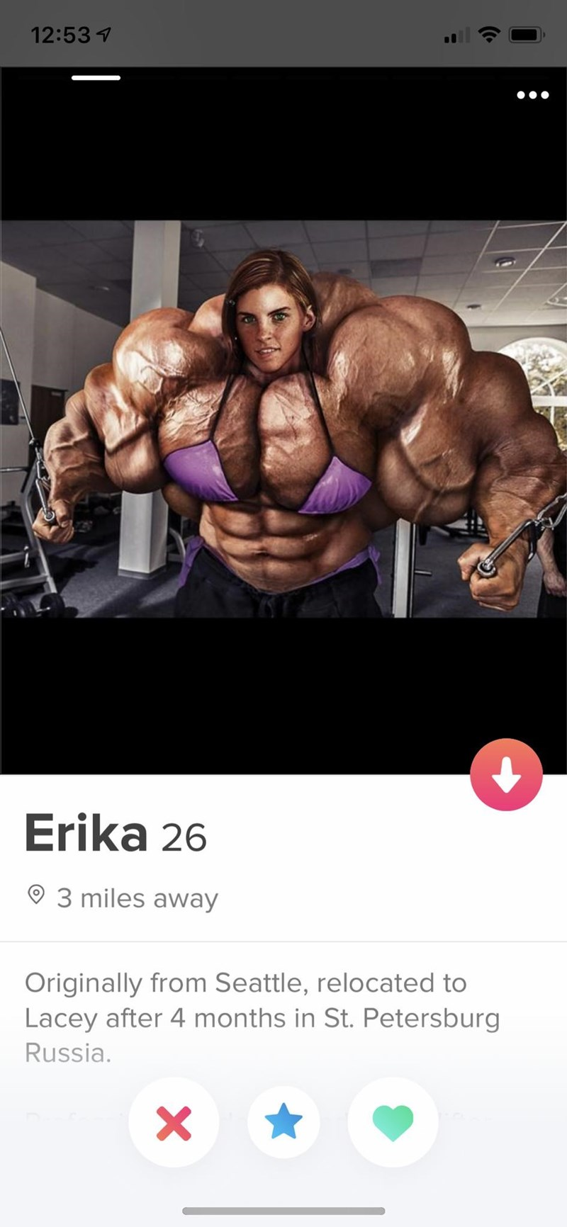 Bodybuilding - 12:53 Erika 26 93 miles away Originally from Seattle, relocated to Lacey after 4 months in St. Petersburg Russia