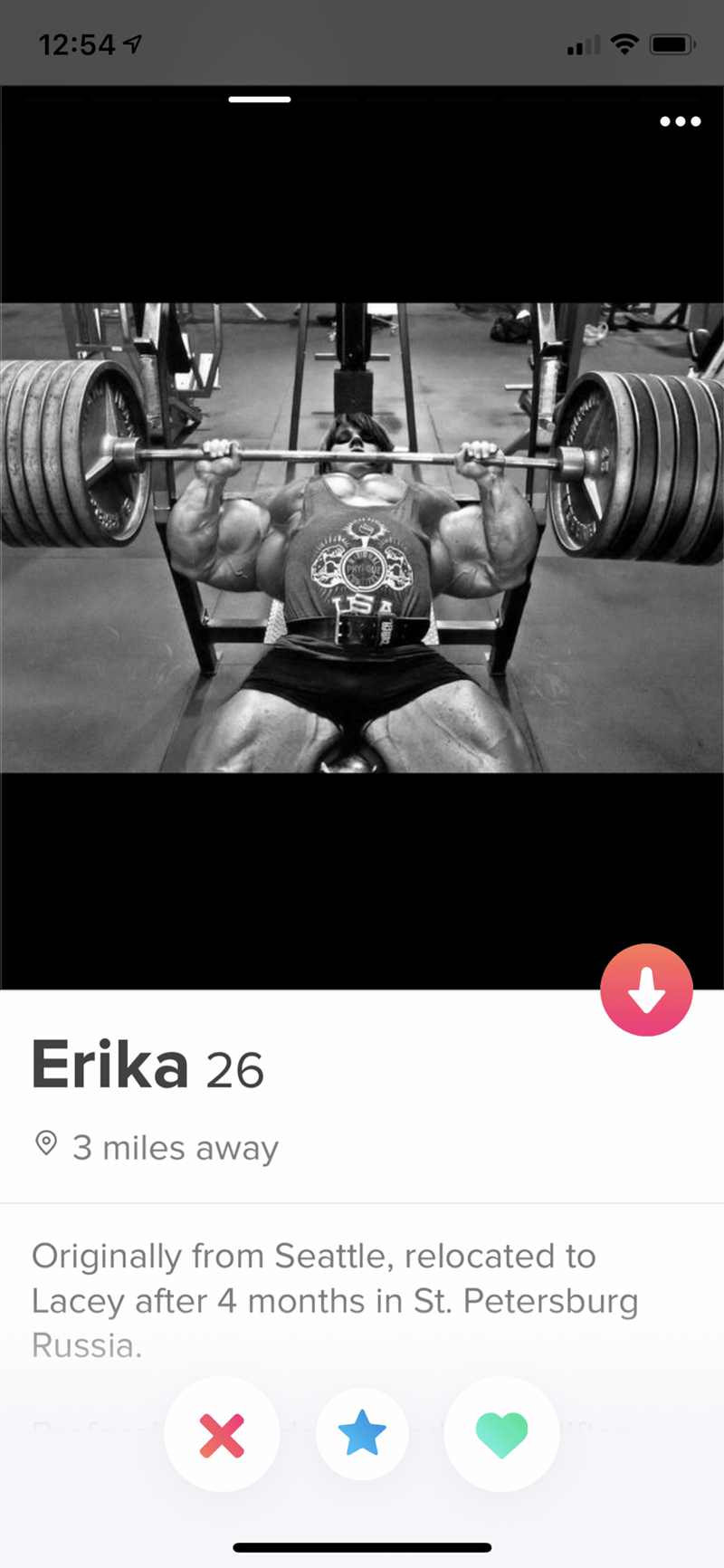 Strength training - 12:54 PHY O S A Erika 26 3 miles away Originally from Seattle, relocated to Lacey after 4 months in St. Petersburg Russia.
