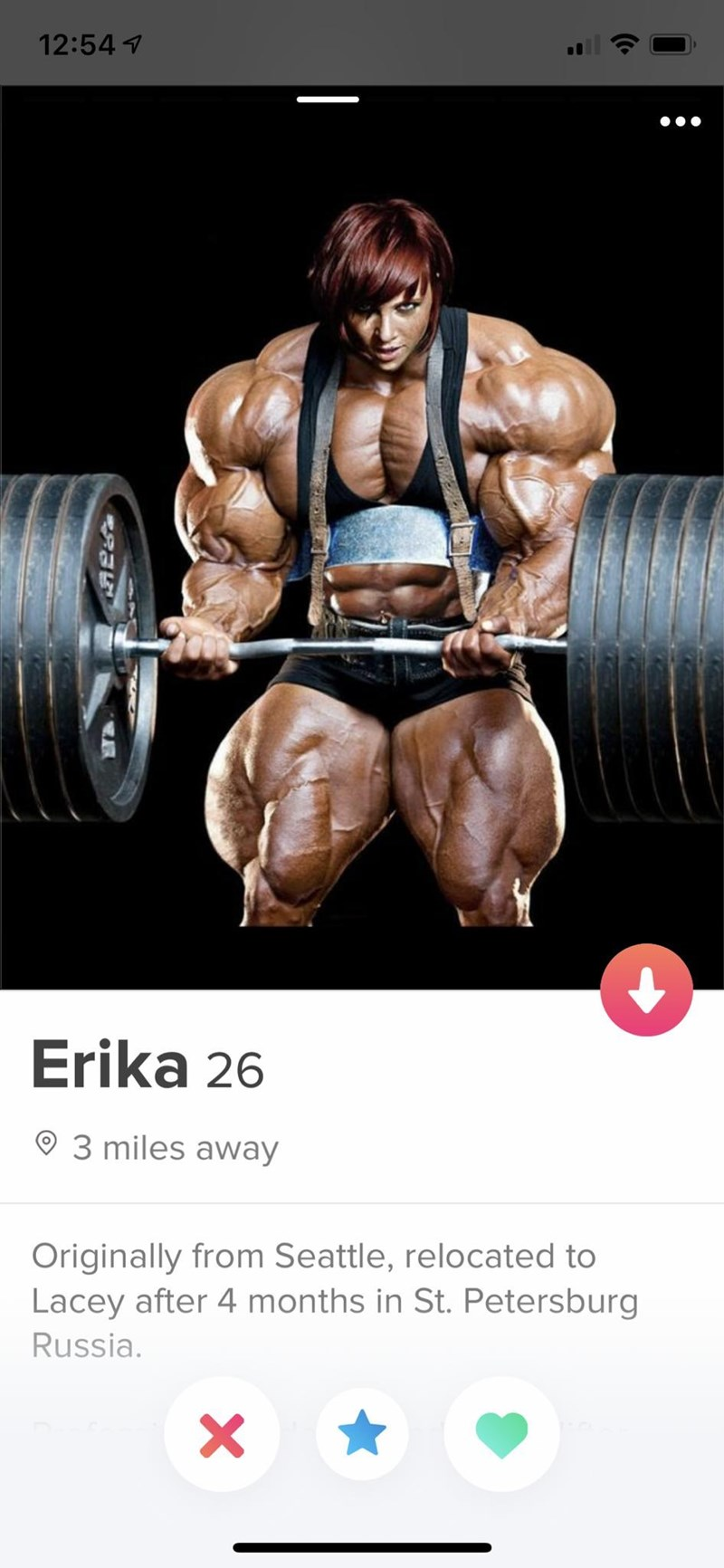Bodybuilder - 12:54 Erika 26 93 miles away Originally from Seattle, relocated to Lacey after 4 months in St. Petersburg Russia