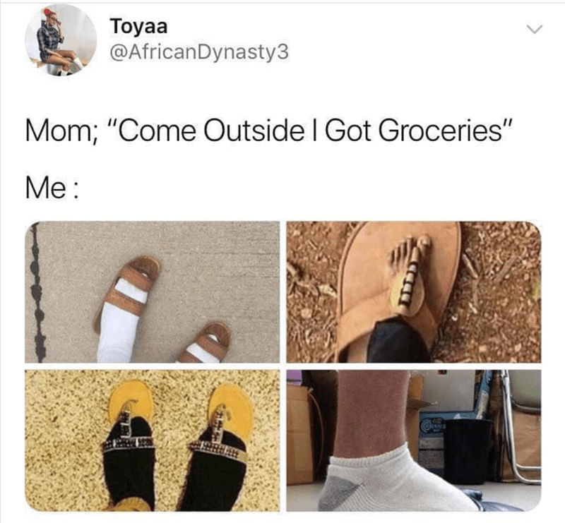 """Product - Toyaa @AfricanDynasty3 Mom; """"Come Outside I Got Groceries"""" Мeе:"""
