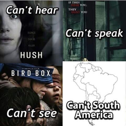 meme - Text - IF THEY EAR YOU, Can't hear THEY UNTYOU Can't speak ENCE CAN B OLLER HUSH BIRD BOX Can't South America Can't see