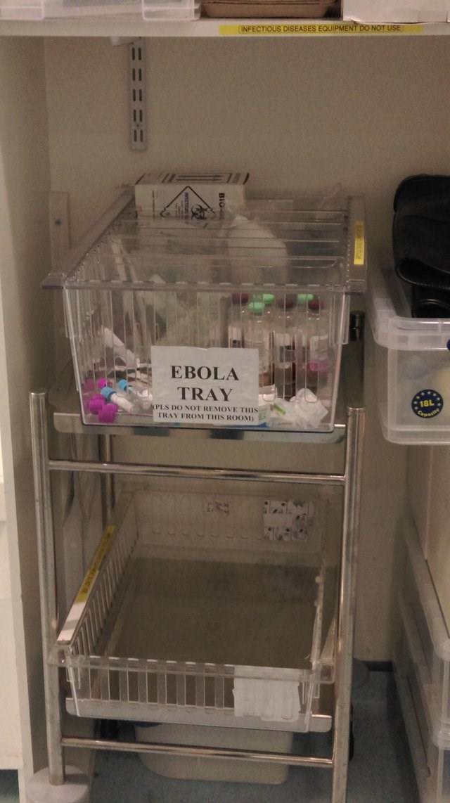 Refrigerator - INFECTIOUS DISEASES EQUIPMENT DO NOT USE EBOLA TRAY 18L PLS DO NOT REMOVE THIS TRAY FROM THIS ROOM)