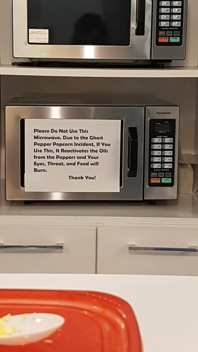 Microwave oven - Panasonic Please Do Not Use This Microwave. Due to the Ghost Pepper Popcorn Incident, If You Use This,It Reactivates the Oils from the Peppers and Your Eyes, Throat, and Food will Burn. Thank You! eccccc