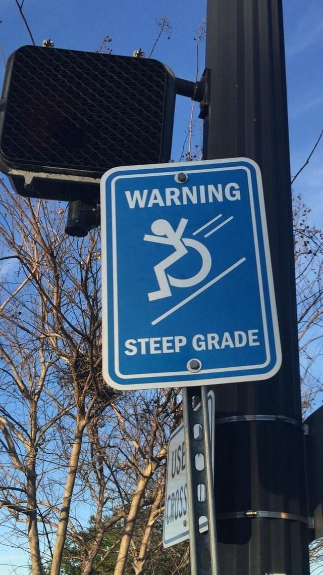 Street sign - WARNING STEEP GRADE