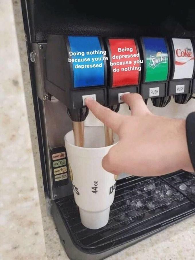 Machine - Being Doing nothing because you're depressed depressed because you Spriler Coke do nothing PUSH PUSH