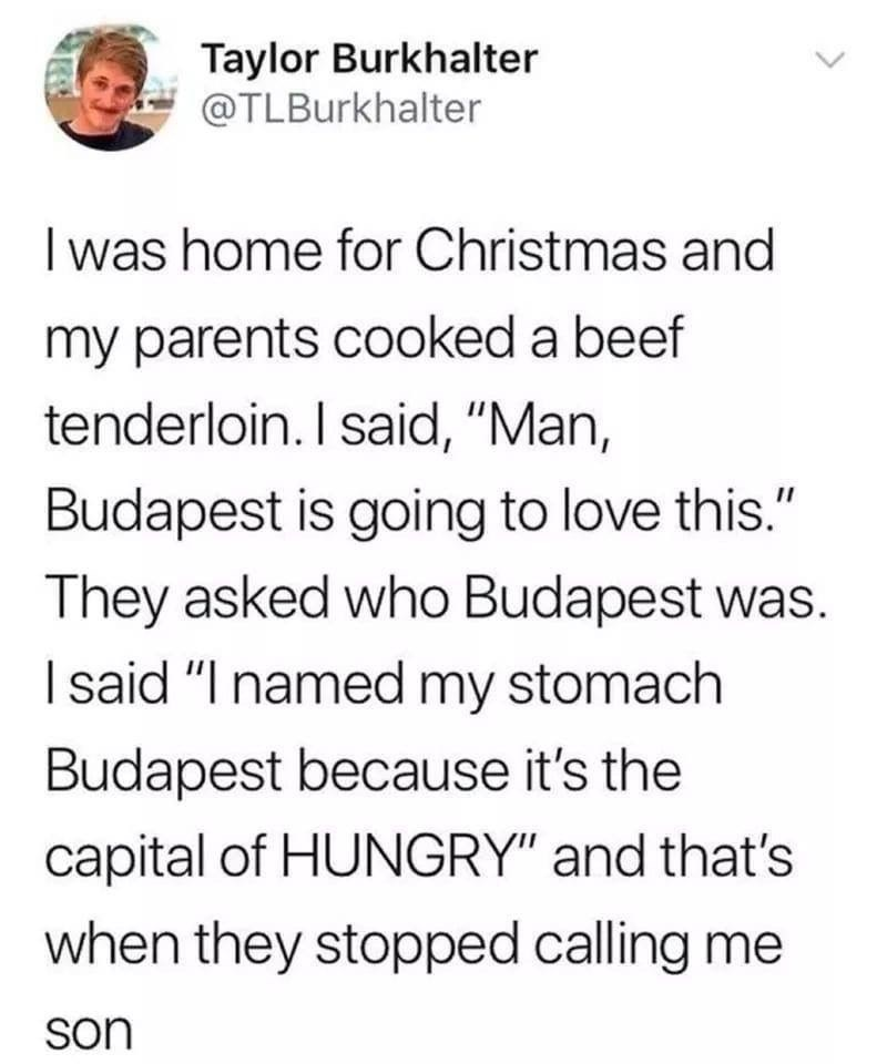 "Tweet that reads, ""I was home for Christmas and my parents cooked a beef tenderloin. I said, 'Man, Budapest is going to love this.' They asked who Budapest was. I said, I named my stomach Budapest because it's the capital of HUNGRY,' and that's when they stopped calling me son"""