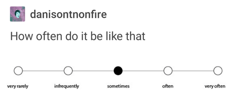 Text - danisontnonfire How often do it be like that infrequently often sometimes very rarely very often