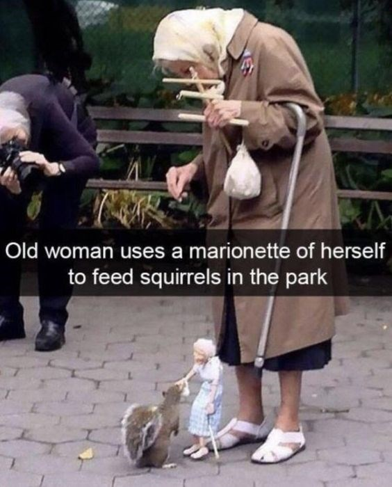 Adaptation - Old woman usesa marionette of herself to feed squirrels in the park